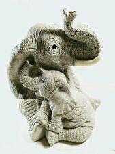 "Lifelike 8"" Tall Nurturing Elephant and Calf Ceramic Coin Bank Sculpture Nice!!"