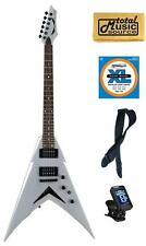 Dean V Dave Mustaine Metallic Silver Electric Guitar FREE Strings Tuner Strap ,V