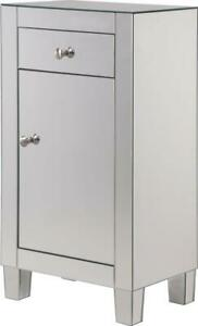 SIDE CABINET CONTEMPORARY BRUSHED STEEL CLEAR MIRROR SOLID WOOD MIRRORS 1