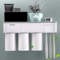 Toothpaste Toothbrush Holder Magnetic Cup Storage Rack Bathroom Wall Mount Stand