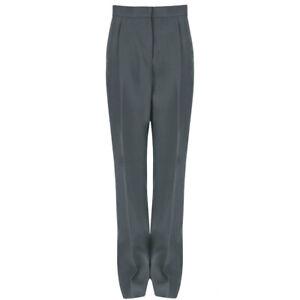 Stella McCartney Grey Green Wide Leg Trousers Pants IT40 UK8