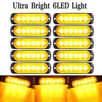 10x Waterproof Amber 6 LED 18W Car Truck SUV Warning Lights Fog Lamp DC 12V