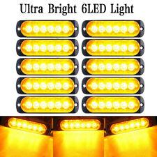 10x Waterproof Amber 6 LED Car Truck Strobe Flash Warning Lights Lamp DC 12V