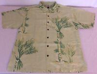 Tommy Bahama Mens L100% Silk Hawaiian Camp Shirt Green Bamboo Print Short Sleeve
