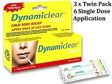 3 x TWIN PACK 6 Single Application ( 0.5ml ) DYNAMICLEAR RAPID *cold sore
