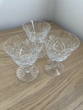 3 Cut Crystal Wine / Sherry / Port Glasses