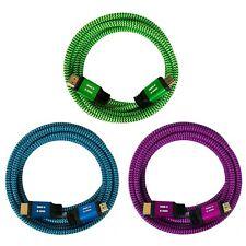 i!® 3x 5m Premium Nylon High Speed HDMI 2.0 Kabel SET 3D 4K UHD blau grün pink
