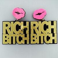 """Fashion Women Acrylic Resin """"BITCH"""" Earring Boho Dangle Drop Stud Earring"""