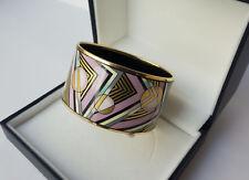 Authentic MICHAELA FREY WILLE Bangle Bracelet Enamel Geometric Pattern VINTAGE