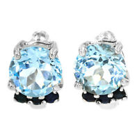 EARTH MINED 8MM SKY BLUE TOPAZ NATURAL RARE GEMS STERLING SILVER 925 EARRING