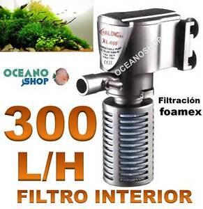 FILTRO INTERIOR 300l/h ACUARIO con FOAMEX 3W Tortuguera Gambario pecera INTERNO