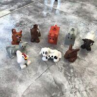 LEGO DUPLO ANIMALS x 9 - 2x HORSES, COW,SHEEP,2x CATS, CHICKEN,RABBIT,DOG