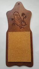 Vintage Mid Century Engraved Owl Cork Message Board Wood Wall Hanging