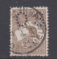 K818) Australia 1913 2/- Brown 1st wmk. Kangaroo punctured small 'OS' BW 35bb
