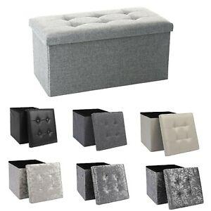 Ottoman Storage Seat Stool Trunk Toy Chest Bedding or Blanket Box Folding Bench
