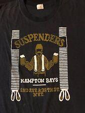 Rare Vintage 80s Suspenders New York Dive Bar Club T-Shirt Ramones Punk Rock