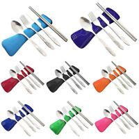 4Pcs Stainless Steel Cutlery Set Fork Spoon Chopsticks Travel Portable Tableware