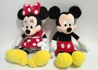 """Disney Parks Mickey Mouse and Minnie Mouse Plush Toys 13"""" Set of 2"""