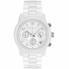 Michael Kors White Dial Ceramic Chrono Quartz Ladies Watch MK5161