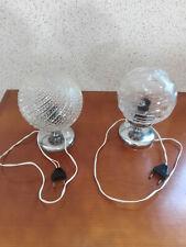 LOT de 2 ANCIENNE LAMPES DE CHEVET GLOBE EN VERRE  VINTAGE Période 1970