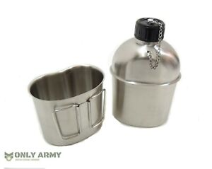 French Army Stainless Steel Water Bottle + Cup Set Military Canteen Bottle Mug