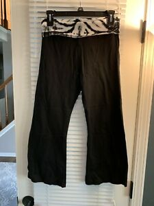 Hard Tail Forever Rolldown Bootleg Flare Pants Yoga Women's Size M Black NWT