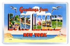 GREETINGS FROM LONG ISLAND NEW YORK FRIDGE MAGNET SOUVENIR IMAN NEVERA