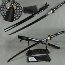 New Black Blade Japanese Samurai Katana Sword High Carbon Steel Full Tang Sharp
