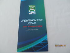 Heineken Cup Final 2012 Twickenham. Menu Card