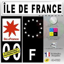 4X Stickers Plaques Auto Fond Noir Ile de France