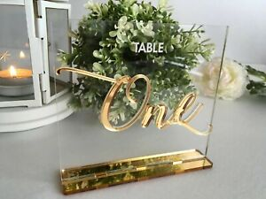 Clear Acrylic Wedding Table Numbers Calligraphy Freestanding Luxury Centerpieces