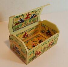 VINTAGE 30'S INDIAN CELLULOID FAUX BONE HAND PAINTED FIGURAL CASKET TRINKET BOX