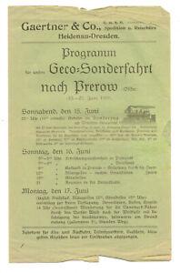 Gärtner & Co Spedition Heidenau Dresden Programm Sonderfahrt Prerow 1929    (D7