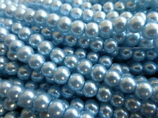 1 Strand x 8mm Light Blue Glass Pearl Beads (Apprx 110) Faux Imitation Pearls