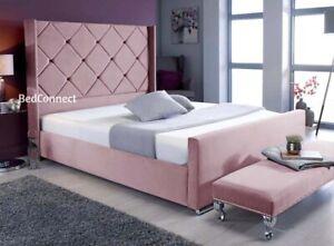 Plush Velvet Bed Chelsea Bed Windermere Studded Wing Bed 3FT 4FT 4FT6 5FT 6FT