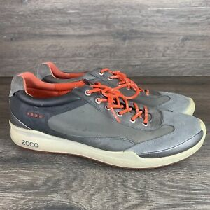 ECCO Biom Yak Leather Men's Size 10.5 US 44 EUR White Grey Orange Golf Shoes YAK