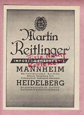 MANNHEIM-HEIDELBERG, Werbung 1937, Martin Reitlinger Import Obst Gemüse