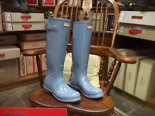 HUNTER WELLINGTONS IN HALIFAX PALE BLUE GLOSS  ORIGINAL LADIES TALL SIZE 8