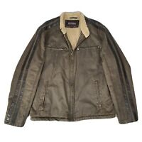 GUESS Men's Distressed Brown Leather Sherpa Lined Jacket Winter Coat Size Large