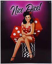 Nice Dice Casino Pin Up Model Poker Chips Gambler Metal Sign
