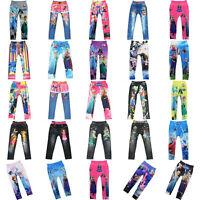4-10Y Cute Girls' Colorful Skinny Leggings Casual Kid's Stretchy Pants Trousers
