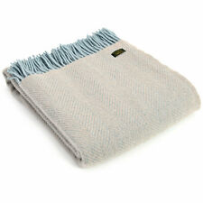 """SALE"" TWEEDMILL TEXTILES 100% Wool Throw Blanket HERRINGBONE FAWN DUCK EGG BLUE"