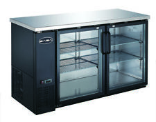 """Saba 60"""" Black Back Bar Beer Cooler Refrigerator, 2 Glass Doors 24"""" Depth"""