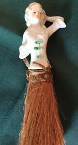 Antique Porcelain Half Doll whisk Broom Elegant lady Green Headband