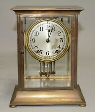 "#37 Seth Thomas ""Empire No. 303"" Model Crystal Regulator Heavy Brass Clock"