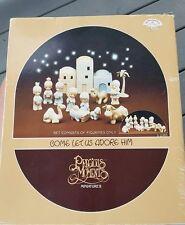 Precious Moments Come let us adore him Nativity Set E2395 hand painted 1982 EUC