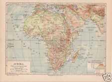 AFRIKA Flüsse Gebirge physikalische LANDKARTE 1888