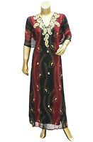 Chiffon Flare Caftan Islamic Style Embroidered Red-Black Gown/Kaftan for Women's