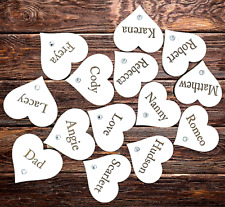 25 x Personalised Wooden Engraved WHITE Hearts  Zircon Family Tree DIY Wedding