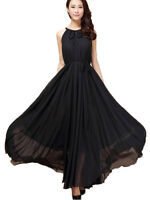 Chiffon Black Long Maxi Formal Summer Beach Evening Party dress Plus Size 28-30